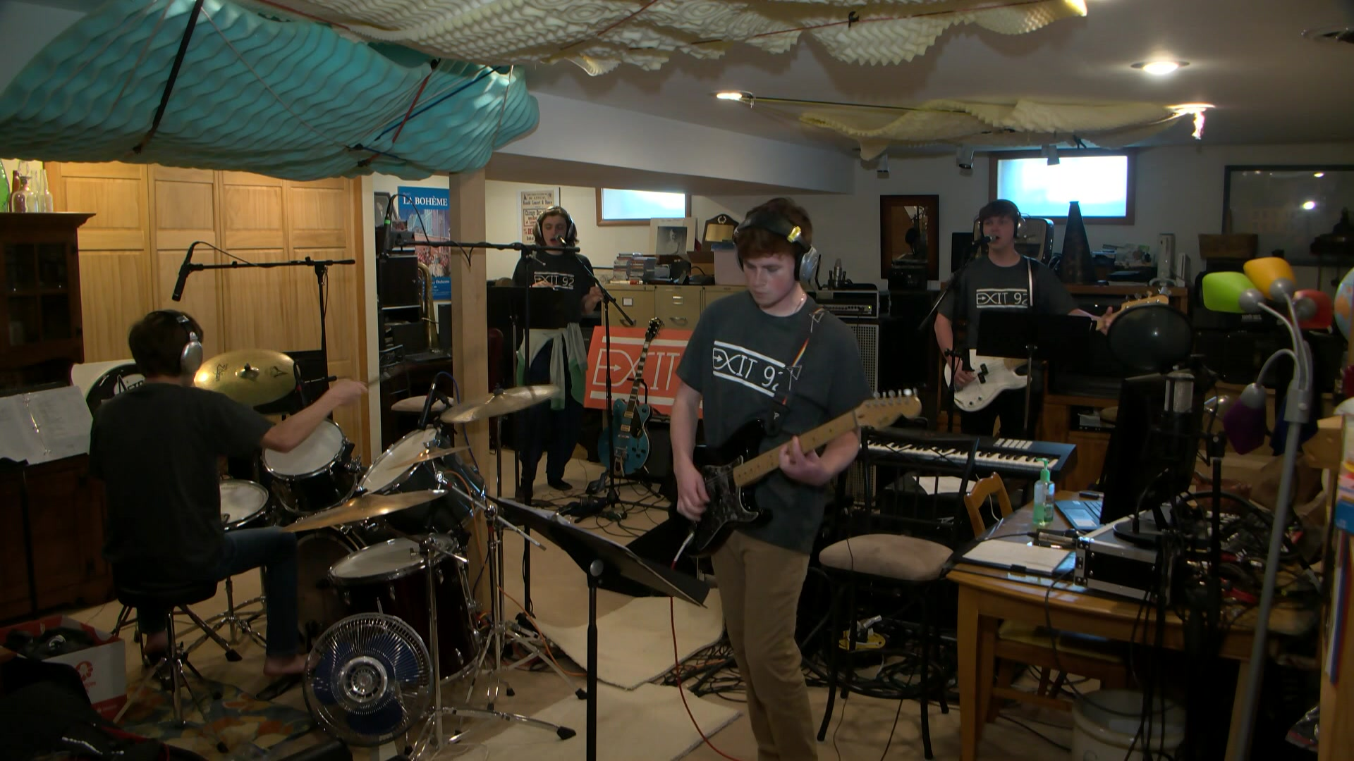 The four Grafton HS seniors of the band Exit 92 rehearse. by